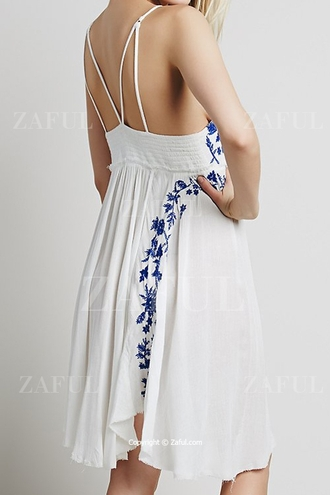 dress boho boho dress zaful strappy dress spaghetti straps dress spaghetti strap white white dress white strappy dress criss cross strap dress white strap dress summer summer dress summer outfits hipster vintage bohemian bohemian dress embroidered embroidered dress floral floral embroidery babydoll dress cheap dress romantic summer dress