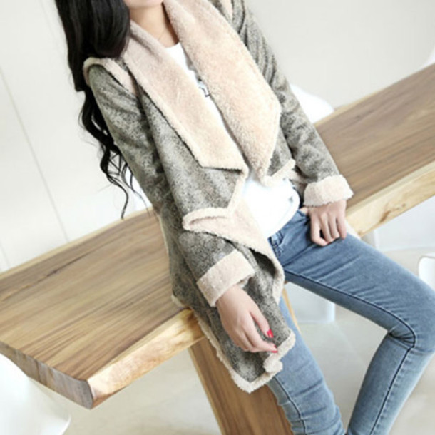 coat leisure warm mixing color
