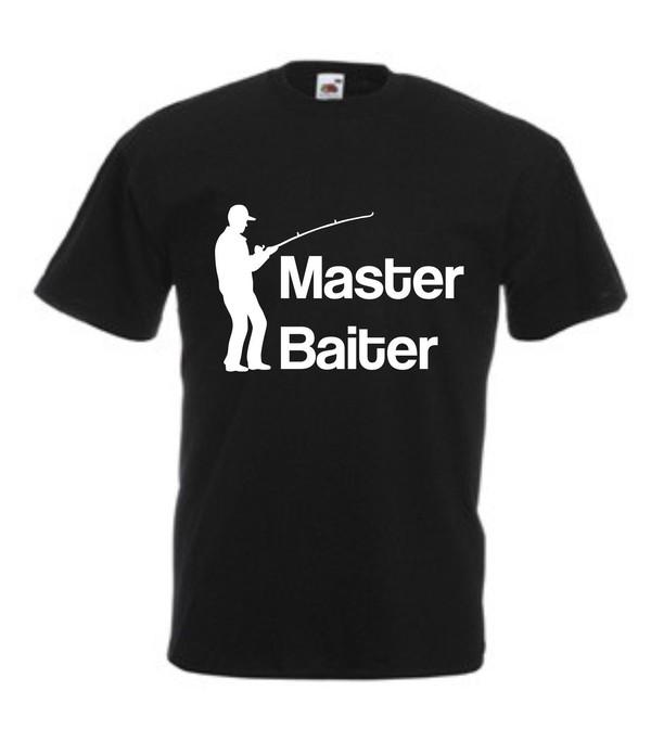 t-shirt master baiter funny rude fishing black t-shirt