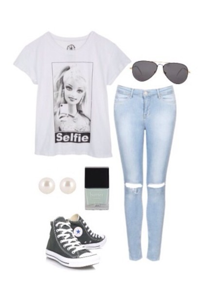 shirt t-shirt white tshirt top jeans white tshirt barbie selfie slut