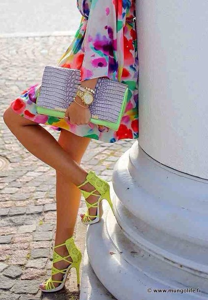 dress neon clutch snake print shoes bag bright blouse purse and shoes colorful yellow neon green high heels strappy sandals glamour