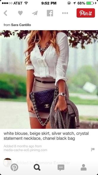 white blouse blouse beige skirts