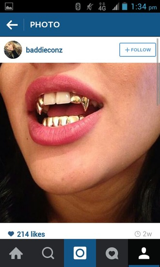 jewels gold grillz grillz fashion style street streetwear streetstyle trill iconic gold mouth grill vamp fangs vampire fangs vampire teeth jewel teeth jewlery gold jewelry gems diamonds sexy
