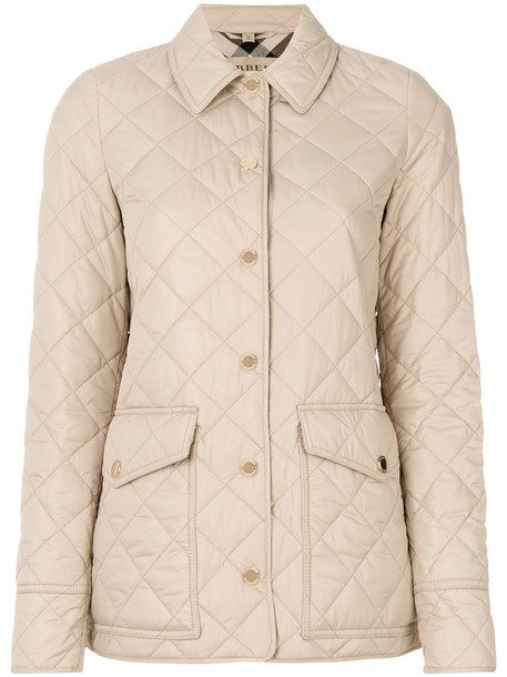 jacket women quilted cotton brown