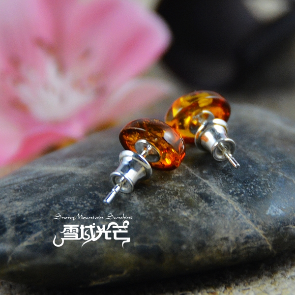 Handmade 925 Sterling Silver Natural Amber Earrings - Wishbop.com