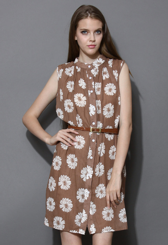 dress daisy print daisy print brow brown shirt shirt dress