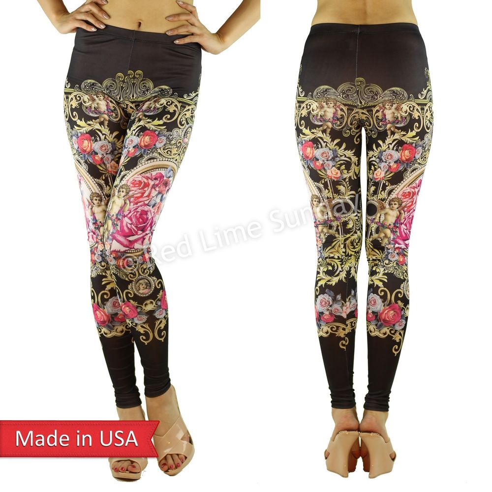 Women Angels Baroque Floral Flower Art Print Black Leggings Tights Pants USA