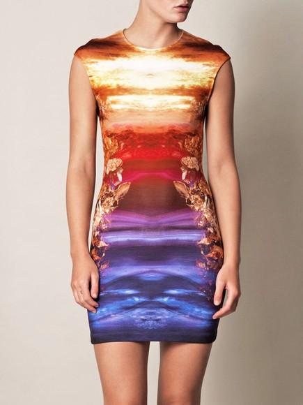 alexander mcqueen sunset dress sunset sunset print dress