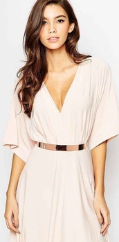 dress,cream dress,bell sleeves,v neck dress,belted dress,asos,plunge dress,mini dress