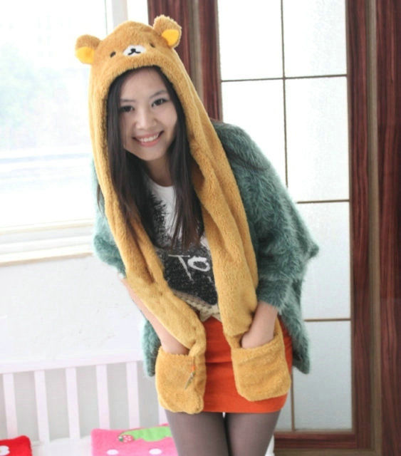 Cute San-X Rilakkuma Bear Plush Hat Cap with Scarf Gloves Adults Cosplay Gift | eBay