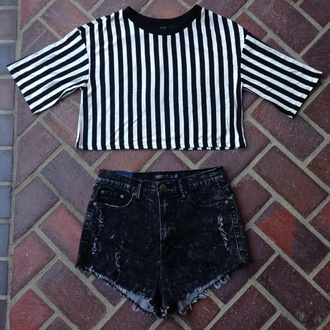 shirt stripe top navy and white stripe top top high waisted shorts white bottom stripes long sleeves