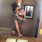 swimwear,india love,polka dots,high waisted,bun,black,cute,bikini,crop tops,shirt,black and white \,black and white,sexy,top,india westbrooks,swimwear two piece,polka dot bikini,shorts,blouse,india westbooks polka dot black and white short