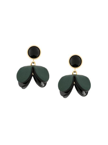 metal women earrings floral leather green jewels