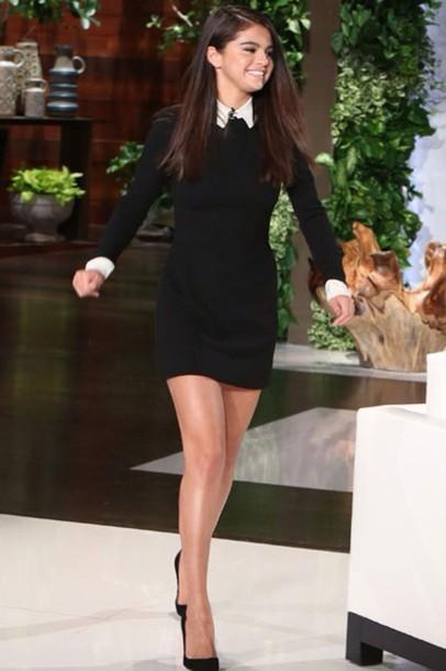 dress black dress white collar peter pan collar short dress smart cut