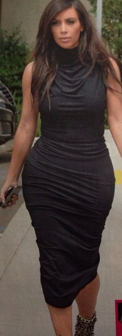 dress,black dress,jersey dress,kim kardashian,skin tight,knee length dress,high neck