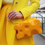 bag,yellow skirt,food inspired accessories,yellow bag,skirt,nails,cheese,food