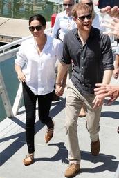 top,shirt,white,white shirt,meghan markle,jeans,black