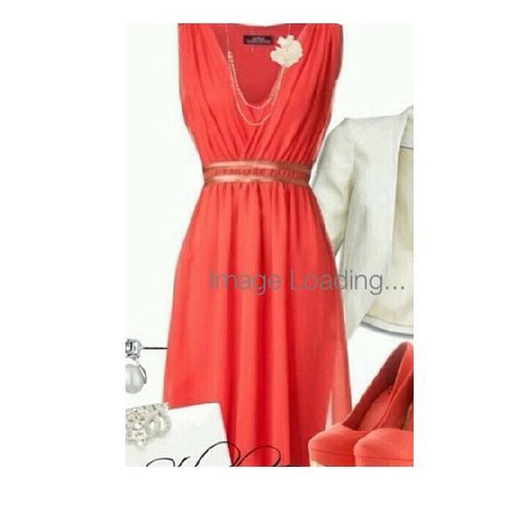 pink dress coral dress homecoming dress gold belt orange dress evening/homecoming dresses evening dress