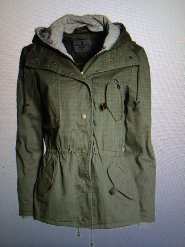 Jacket: utility, olive green, parka, military style, hoodie coat ...