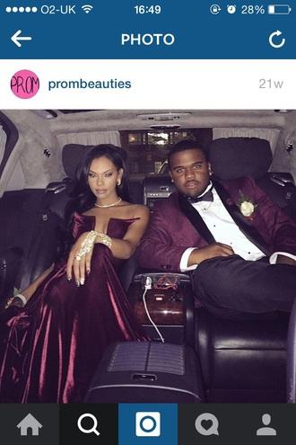 dress burgundy velvet formal prom dress strapless sweetheart neckline