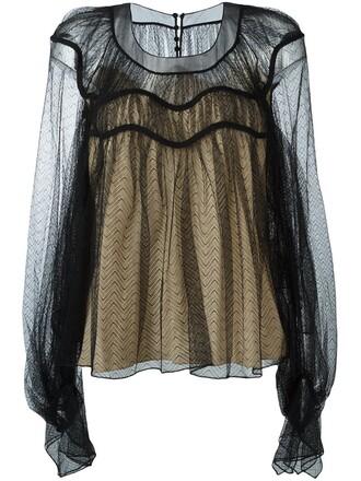 blouse sheer women black silk chevron top