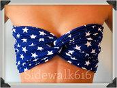 swimwear,bandeau,navy,stars,america,american flag,bandeau bikini,spandexbandeau,spandex bandeau,spandex,bikini