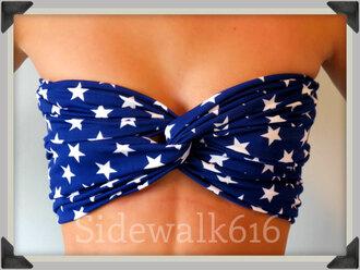 swimwear bandeau navy stars america american flag bandeau bikini spandexbandeau spandex bandeau spandex bikini