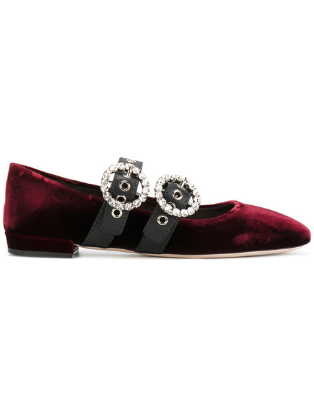 Miu Miu women embellished leather cotton purple pink shoes