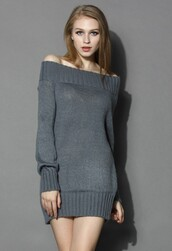 chicwish,knitted dress,off the shoulder dress