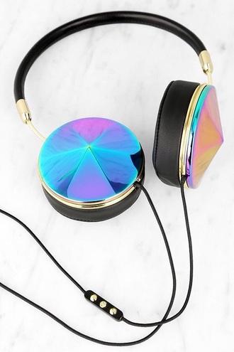 earphones headphones cool music style urban black white girly holographic