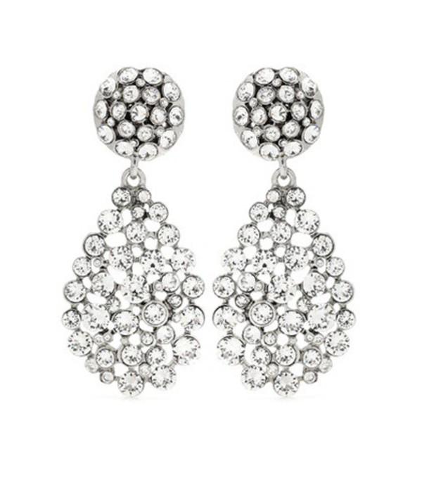 Oscar de la Renta Crystal-embellished Clip-on Earrings in silver