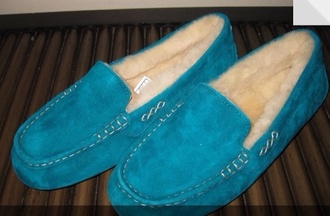 shoes moccasins ugg boots turquoise teal slippers warm