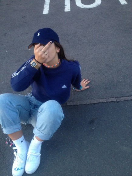 blue and white adidas crewneck clothes navy navy blue sweater adidas sweater