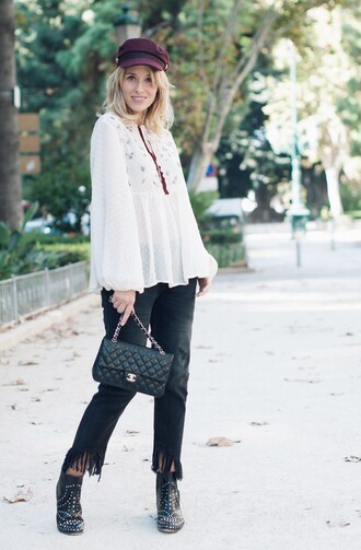 macarenagea blogger blouse top jeans shoes fall outfits ankle boots white blouse black pants