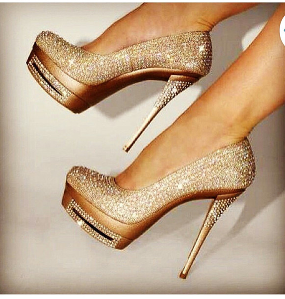Gold Shoes Wedding | Shoes Sparkle High Heels Wedding Shoes Pumps Party Shoes