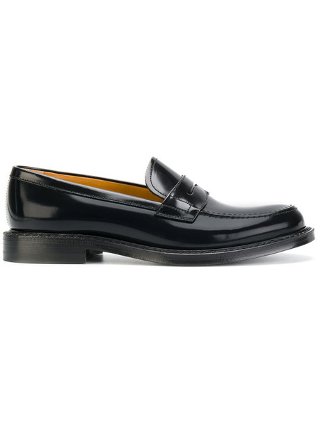 Church's women loafers leather black shoes