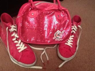 bag white pink purse coach sequins coachshoes coach bag wizards blue red shoes outfit idea outfit ideas