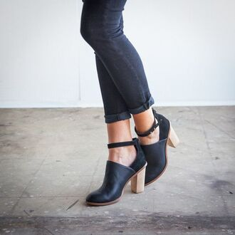 shoes boots blue boots leather leather shoes wooden heel minimalist black heels