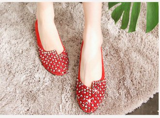 shoes studs red flat