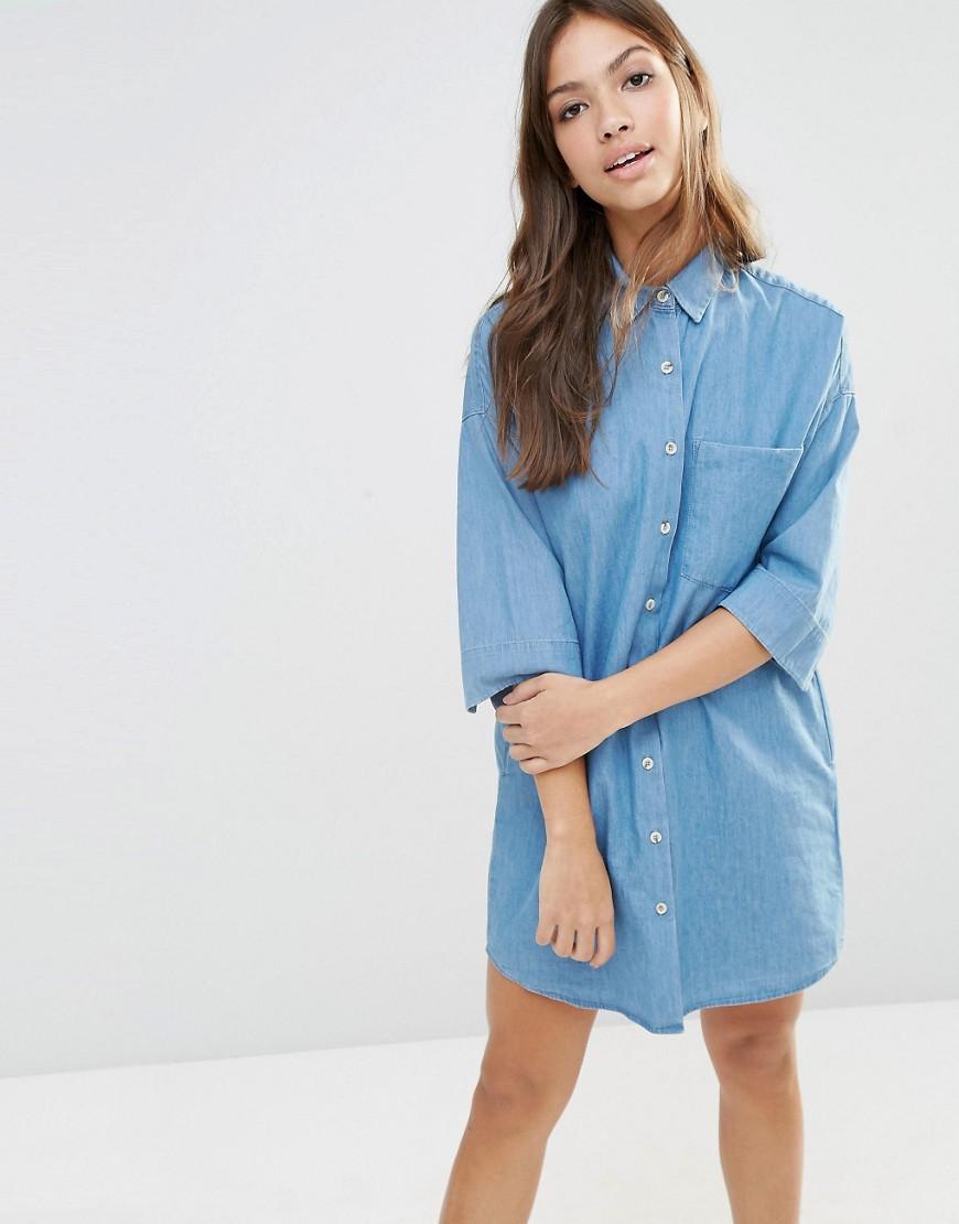 Pull&Bear Denim Shirt Dress at asos.com