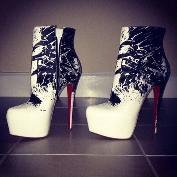 shoes high heels black cute boots ankle boots white pattern booties high heel booties paint splatter sexy ankle booties black ankle boots zipper zip up boots red bottoms red bottom heels white black splash