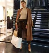 coat,camel,camel coat,hailey baldwin,pumps,pants,instagram,velvet