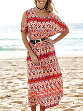 dress,pattern,boho,trendy,red,summer,beach,festival,dressfo