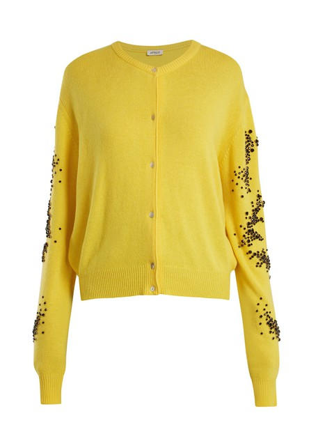 Attico cardigan cardigan embellished yellow sweater