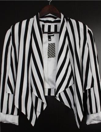 jacket h&m rihanna jacket black & white striped blazer cropped jacket waterfall blazer