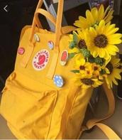 bag,backpack,yellow,sunflower
