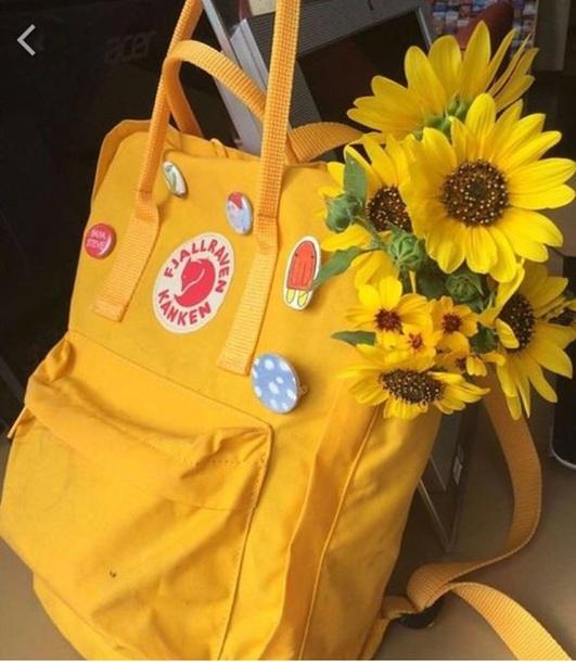 bag backpack yellow sunflower