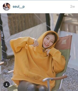 sweater yellow hoodie basic oversized oversized hoodie korean fashion oversized sweater