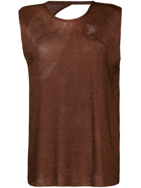 Kacey Devlin tank top top back metallic women brown