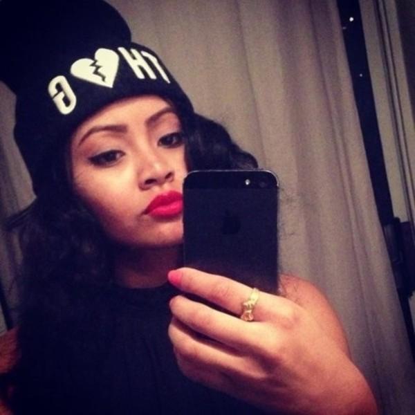 hat beanie thug life black white heart